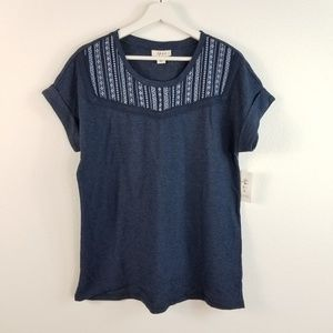 Style & Co Embroidered Sweat Shirt Short Sleeve